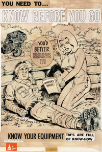 Will Eisner USARV Poster n°65 « Know Before You Go » Lot de 2, dessin original et poster (U.S. Army, 196...