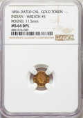 California Gold Charms, 1856 Arms of California, California Gold, Round, Wreath #5, MS64 Deep Mirror Prooflike NGC. 11.5 mm....
