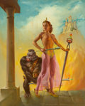 Mainstream Illustration, Harold W. McCauley (American, 1913-1977). Queen of the Apes, circa 1970. Oil on board. 29 x 23.5 in. (sight). Signed low...