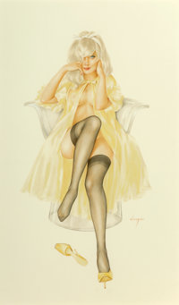 "Alberto Vargas (American, 1896-1982) ""I don't smoke or drink, Mr. Walker, and two out of three isn't bad."" Pla..."