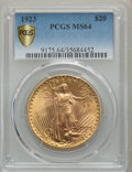 1923 $20 MS64 PCGS. PCGS Population: (4755/519 and 94/8+). NGC Census: (2931/125 and 56/1+). MS64. Mintage 566,000....(P...