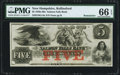 Obsoletes By State:New Hampshire, Rollinsford, NH- Salmon Falls Bank $5 18__ G14a Remainder PMG Gem Uncirculated 66 EPQ.. ...