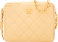 Luxury Accessories:Bags, Chanel Beige Quilted Caviar Leather Camera Bag with Gold Hardware. The Collection of Candy Spelling. Condition: 1. ...