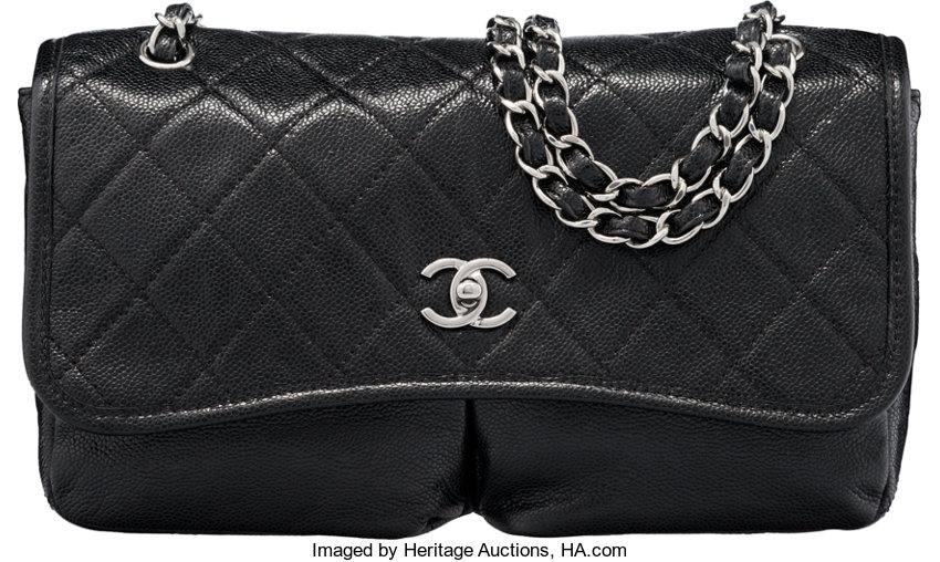 1a5048869aa5 ... Luxury Accessories:Bags, Chanel Black Quilted Caviar Leather Split  Pocket Medium Flap Bagwith Silver ...