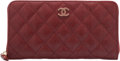 Luxury Accessories:Accessories, Chanel Red Quilted Lambskin Leather Long Zipped Wallet...