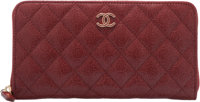 """Chanel Red Quilted Lambskin Leather Long Zipped Wallet Condition: 1 7.5"""" Width x 4"""" Height x 1"""" D"""