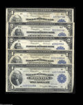 Large Size:Group Lots, Assorted $1 and $2 Federal Reserve Bank Notes.... (5 notes)
