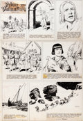 Original Comic Art:Comic Strip Art, Hal Foster Prince Valiant (Prince Vaillant) Original de la planche du dimanche n°1004 du 6 mai 1956 (King Features...
