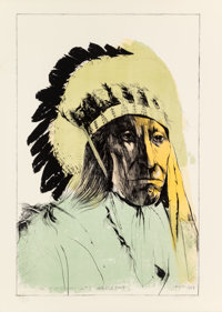Leonard Baskin (1922-2000) Chief American Horse - Oglalla Sioux, 1973 Lithograph in colors on wove p