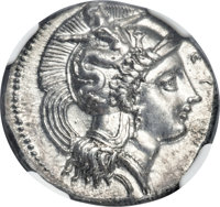 Ancients: LUCANIA. Heraclea. Ca. 390-330 BC. AR stater (22mm, 7.83 gm, 4h). NGC Choice AU 5/5 - 3/5, Fine Style