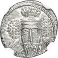 Ancients:Oriental, Ancients: PARTHIAN KINGDOM. Vologases V (ca. AD 191-208). AR drachm (18mm, 3.74 gm, 12h). NGC Choice MS★ 5/5 - 4/5....