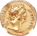 Ancients:Roman Imperial, Ancients: Domitian, as Augustus (AD 81-96). AV aureus (19mm, 7.44 gm, 6h). NGC VF 5/5 - 4/5....