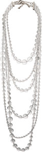 "Luxury Accessories:Accessories, Chanel Transparent Beaded Crystal Long Multi-Strand Necklace. Condition: 1. Shortest Drop: 7.5"". Longest Drop: 18""..."