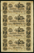 Obsoletes By State:Louisiana, New Orleans, LA- Canal Bank $100-$100-$100-$100 18__ Uncut Sheet Choice Crisp Uncirculated.. ...
