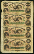 Obsoletes By State:Louisiana, New Orleans, LA- Citizens' Bank of Louisiana $100-$100-$100-$100 18__ Uncut Sheet Extremely Fine.. ...