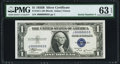 Small Size:Silver Certificates, Serial Number 3 Fr. 1611 $1 1935B Silver Certificate. PMG Choice Uncirculated 63 EPQ.. ...