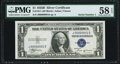 Small Size:Silver Certificates, Serial Number 1 Fr. 1611 $1 1935B Silver Certificate. PMG Choice About Unc 58 EPQ.. ...