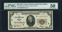 Fr. 1870-K $20 1929 Federal Reserve Bank Note. PMG About Uncirculated 50