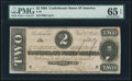 Confederate Notes:1864 Issues, T70 $2 1864 PF-5 Cr. 567 PMG Gem Uncirculated 65 EPQ.. ...