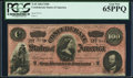 Confederate Notes:1864 Issues, T65 $100 1864 PF-1 Cr. 491 PCGS Gem New 65PPQ.. ...
