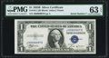 Small Size:Silver Certificates, Serial Number 7 Fr. 1611 $1 1935B Silver Certificate. PMG Choice Uncirculated 63 EPQ.. ...