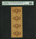Fr. 1230 5¢ First Issue Vertical Strip of Four PMG Gem Uncirculated 66 EPQ