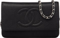 Luxury Accessories:Bags, Chanel Black Caviar Leather Wallet on Chain with Silver Hardware. The Collection of Candy Spelling. Condition: 1. ...