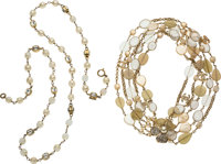 Chanel Set of Two: Gold Pearl & Beaded Stone Necklaces Condition: 3 See Extended Condition Report