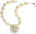 "Luxury Accessories:Accessories, Chanel Large Pearl Necklace with Removable Camellia Flower Brooch. Circa 1980s. Condition: 2. 19"" Length. ..."