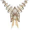 Estate Jewelry:Necklaces, Diamond, Ruby, Gold, Silver Convertible Necklace-Brooch, Erté. ...