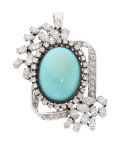 Estate Jewelry:Pendants and Lockets, Turquoise, Diamond, White Gold Pendant-Brooch. ...
