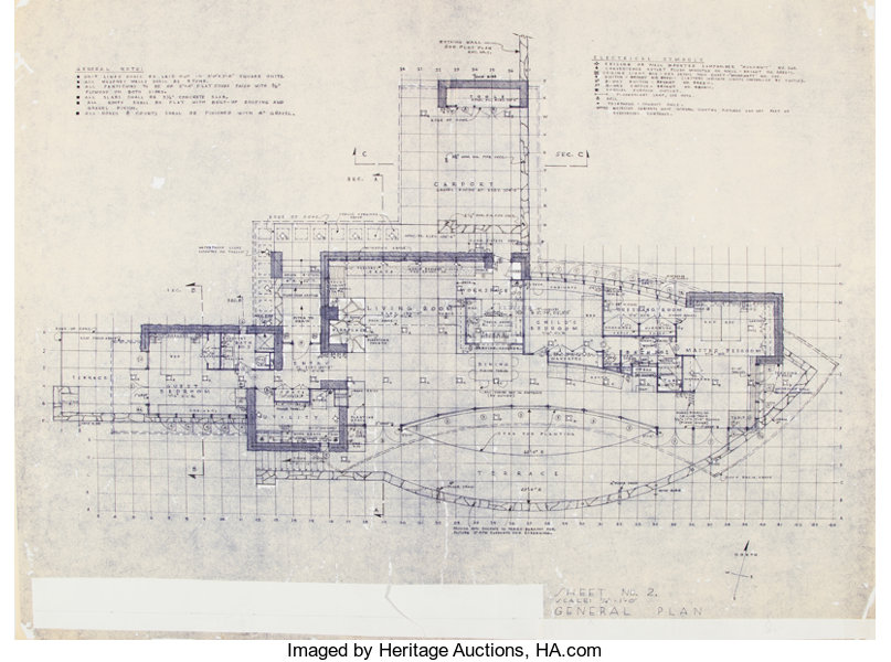 Frank Lloyd Wright (American, 1867-1959)  Plans for the Mr