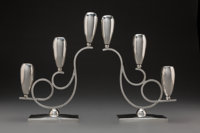 A Pair of Mexican Silver Candlesticks, Mexico City, post-1948 Marks: (eagle-1), STERLING 925, HECHO EN MEXICO
