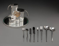 A Five-Piece Lino Sabattini Stairs Pattern Silver-Plate Tea & Coffee Service and Eight-Piece