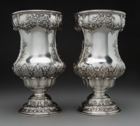 A Pair of Gorham Mfg. Company Silver Vases, Providence, Rhode Island, early 20th century Marks: (lion-anchor-G), &lt...
