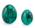 Lapidary Art:Eggs and Spheres, Malachite Eggs (Set of 2). DR Congo. 2.66 x 2.01 inches (6.76 x5.10 cm). ...
