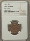 Two Cent Pieces, 1872 2C -- Cleaned -- NGC Details. Fine. NGC Census: (31/198). PCGS Population: (46/428). CDN: $400 Whsle. Bid for problem-...