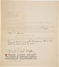 Autographs:Artists, Frank Lloyd Wright Typed Letter Signed...