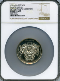 1876 International Exhibition, Danish Medal -- Cleaned -- NGC Details. Unc. Baker-426B, Musante GW-932. White metal, 53m...
