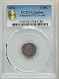 Seated Half Dimes, 1852 H10C -- Cleaned -- PCGS Genuine Gold Shield. Unc Details. NGC Census: (1/150). PCGS Population: (7/131). MS60. Mintage...