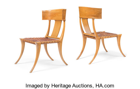 Terence Harold Robsjohn-Gibbings (British, 1905-1976)Pair of Klismos Chairs, circa 1960, Saridis of AthensWalnut, le... (Total: 2 Items)