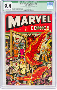 Marvel Mystery Comics #55 Double Cover (Timely, 1944) CGC Qualified NM 9.4 Off-white to white pages