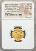 Ancients:Byzantine, Ancients: Basil I the Macedonian (AD 867-886), with Constantine. AVsolidus (20mm, 4.32 gm, 6h). NGC AU 4/5 - 4/5....