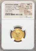 Ancients:Byzantine, Ancients: Anastasius I (AD 491-518). AV solidus (22mm, 4.39 gm,5h). NGC MS 5/5 - 3/5, clipped....