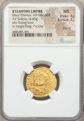 Ancients:Byzantine, Ancients: Maurice Tiberius (AD 582-602). AV solidus (22mm, 4.45 gm,7h). NGC MS 4/5 - 4/5, clipped....