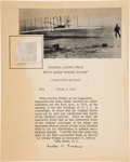 Autographs:Inventors, Wright Brothers Kitty Hawk Plane Fabric Swatch with Lester D.Gardner Document Signed. ... (Total: 2 Items)