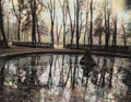 Photographs:Gelatin Silver, Gail Skoff (American, b. 1949). Pond at Versailles, 1972. Gelatin silver with hand coloring. 6-3/4 x 8-7/8 inches (17.1 ...