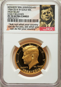 2014-W 50C 3/4 Ounce Gold, 50th Anniversary, Early Releases, PR70 Ultra Cameo NGC. NGC Census: (5214). PCGS Population:...