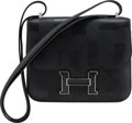 """Luxury Accessories:Bags, Hermes Limited Edition 18cm Black Imprime Sombrero Leather """"On A Summer Night"""" Constance Bag with Palladium Hardware. A, 2..."""