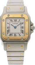 Estate Jewelry:Watches, Cartier Lady's Gold, Stainless Steel Santos Galbee Watch . ...